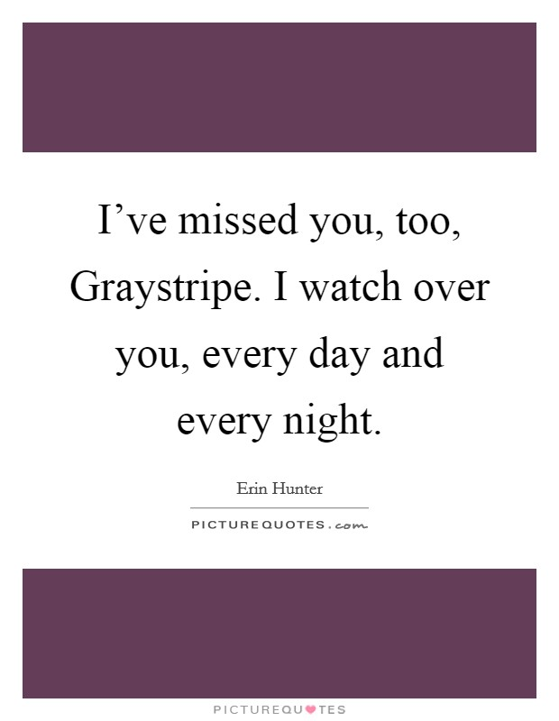 I've missed you, too, Graystripe. I watch over you, every day and every night Picture Quote #1