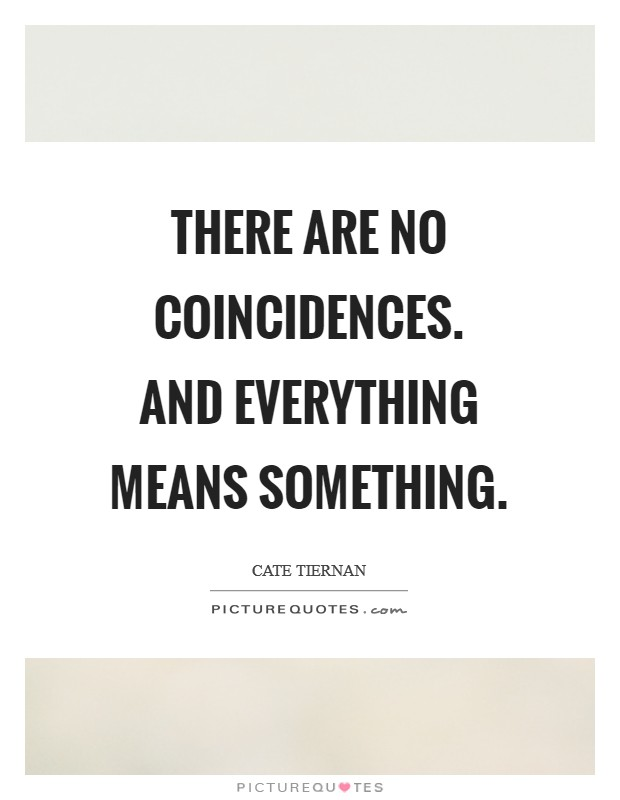 There are no coincidences. And everything means something Picture Quote #1