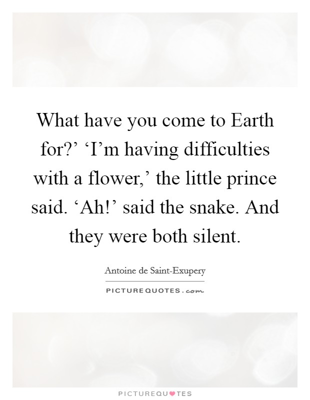 What have you come to Earth for?' 'I'm having difficulties with a flower,' the little prince said. 'Ah!' said the snake. And they were both silent Picture Quote #1