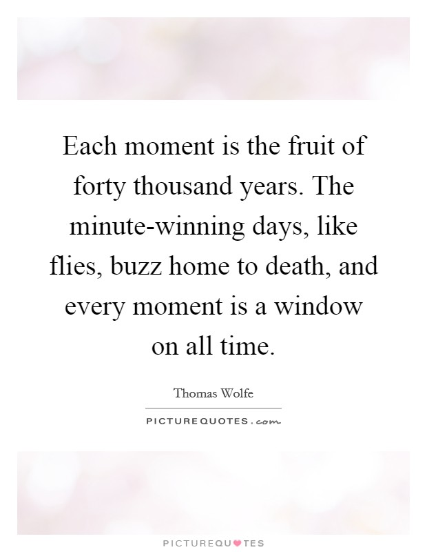 Each moment is the fruit of forty thousand years. The minute-winning days, like flies, buzz home to death, and every moment is a window on all time Picture Quote #1