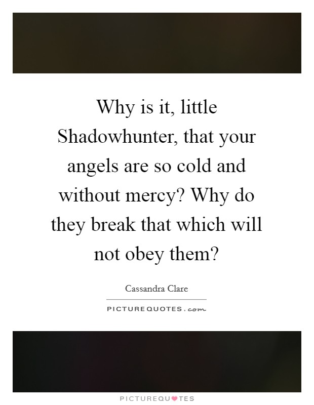 Why is it, little Shadowhunter, that your angels are so cold and without mercy? Why do they break that which will not obey them? Picture Quote #1