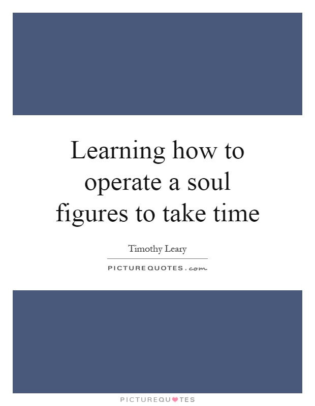 Learning how to operate a soul figures to take time Picture Quote #1