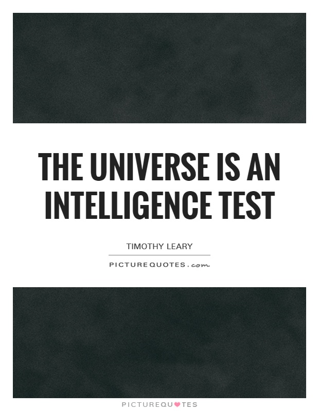 The universe is an intelligence test Picture Quote #1