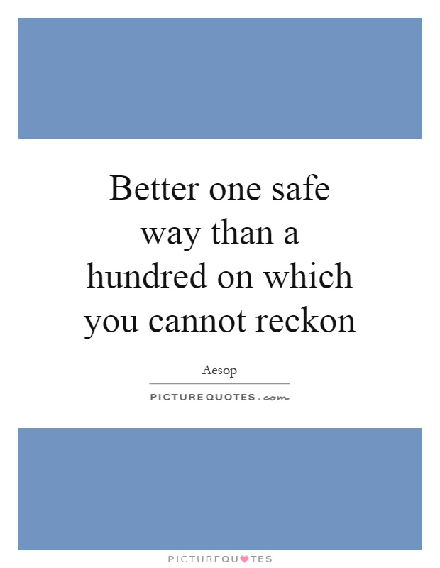 Better one safe way than a hundred on which you cannot reckon Picture Quote #1