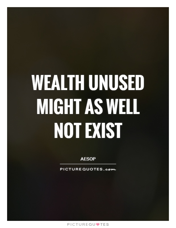 Wealth unused might as well not exist Picture Quote #1