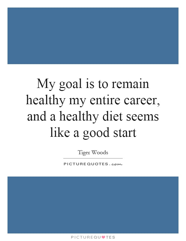 My goal is to remain healthy my entire career, and a healthy diet seems like a good start Picture Quote #1