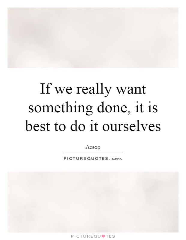 If we really want something done, it is best to do it ourselves Picture Quote #1