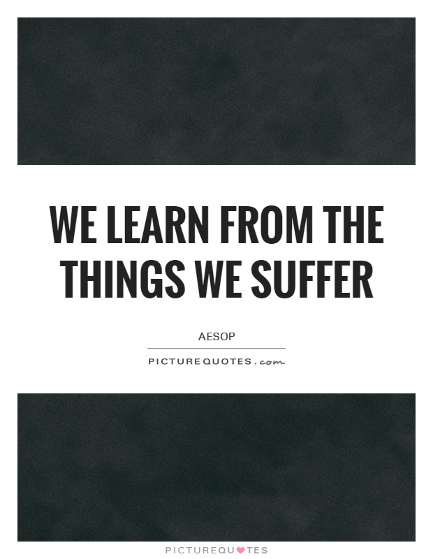 We learn from the things we suffer Picture Quote #1