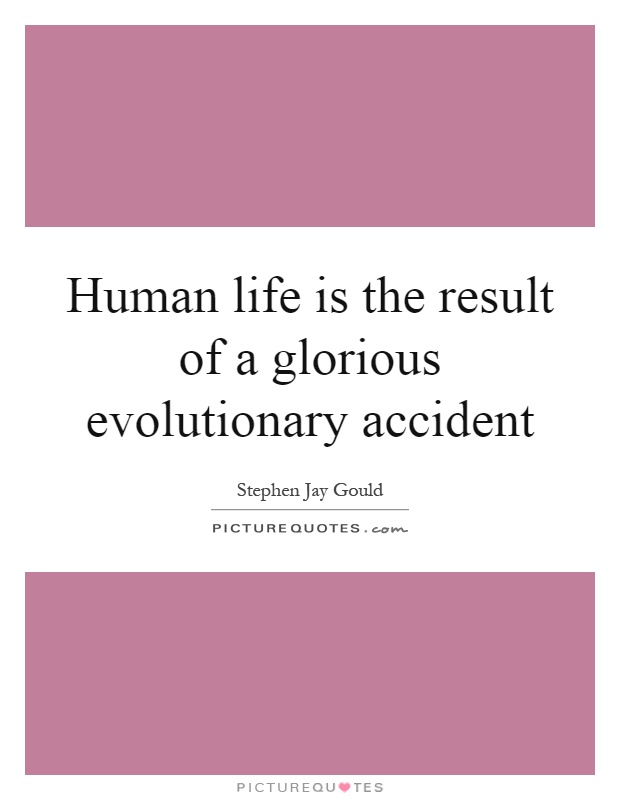 Human life is the result of a glorious evolutionary accident Picture Quote #1