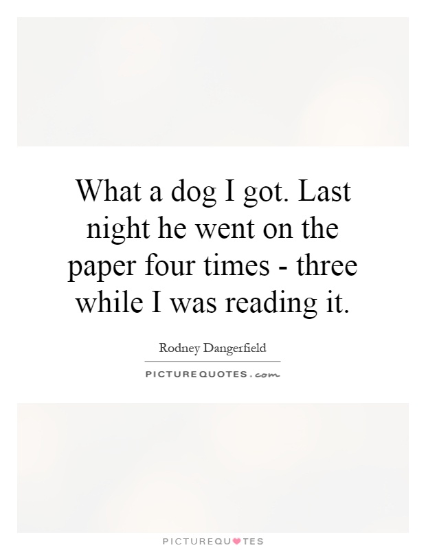 What a dog I got. Last night he went on the paper four times - three while I was reading it Picture Quote #1