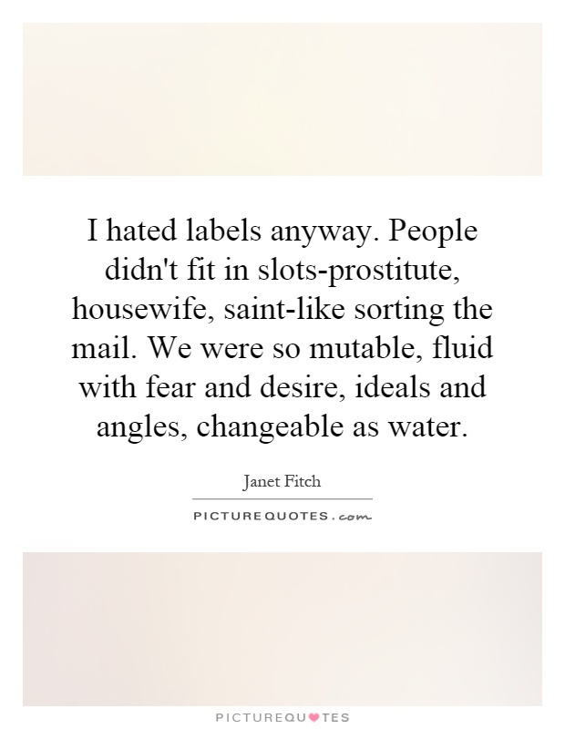 I hated labels anyway. People didn't fit in slots-prostitute, housewife, saint-like sorting the mail. We were so mutable, fluid with fear and desire, ideals and angles, changeable as water Picture Quote #1