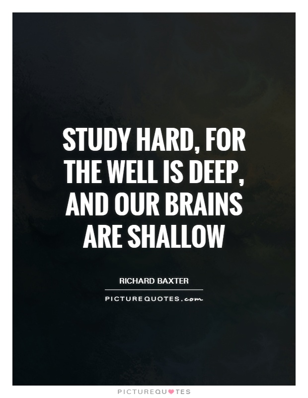 Study hard, for the well is deep, and our brains are shallow Picture Quote #1