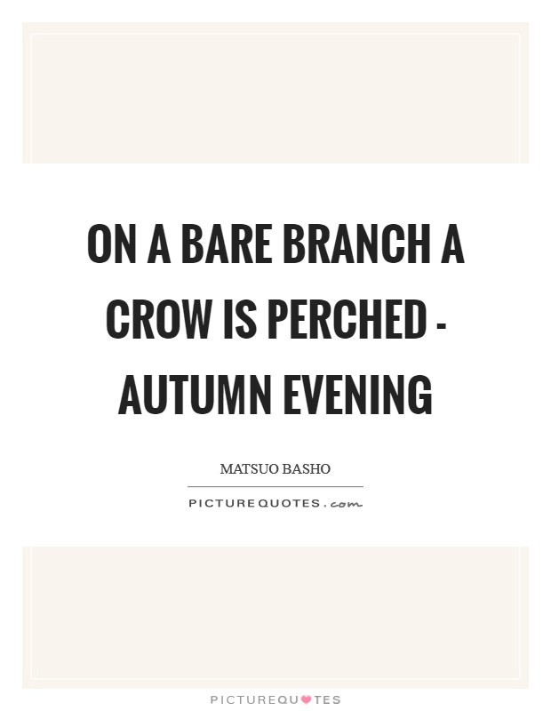 On a bare branch a crow is perched - autumn evening Picture Quote #1
