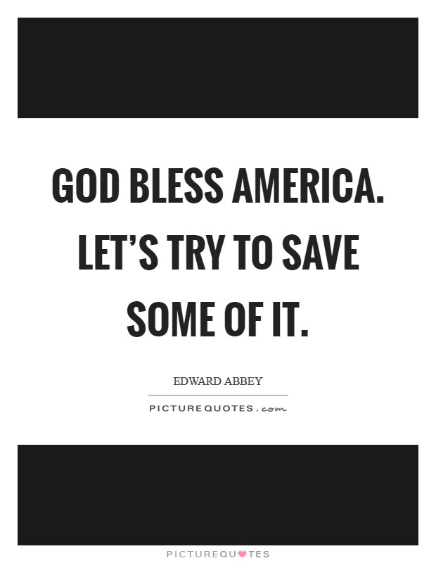 God bless America. Let's try to save some of it Picture Quote #1