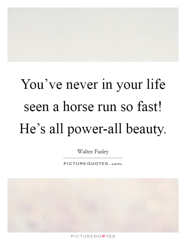 You've never in your life seen a horse run so fast! He's all power-all beauty Picture Quote #1
