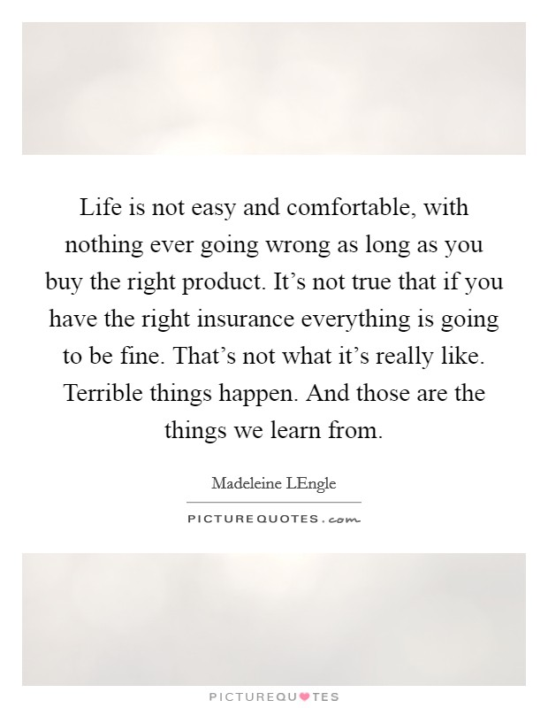 Life is not easy and comfortable, with nothing ever going wrong as long as you buy the right product. It's not true that if you have the right insurance everything is going to be fine. That's not what it's really like. Terrible things happen. And those are the things we learn from Picture Quote #1