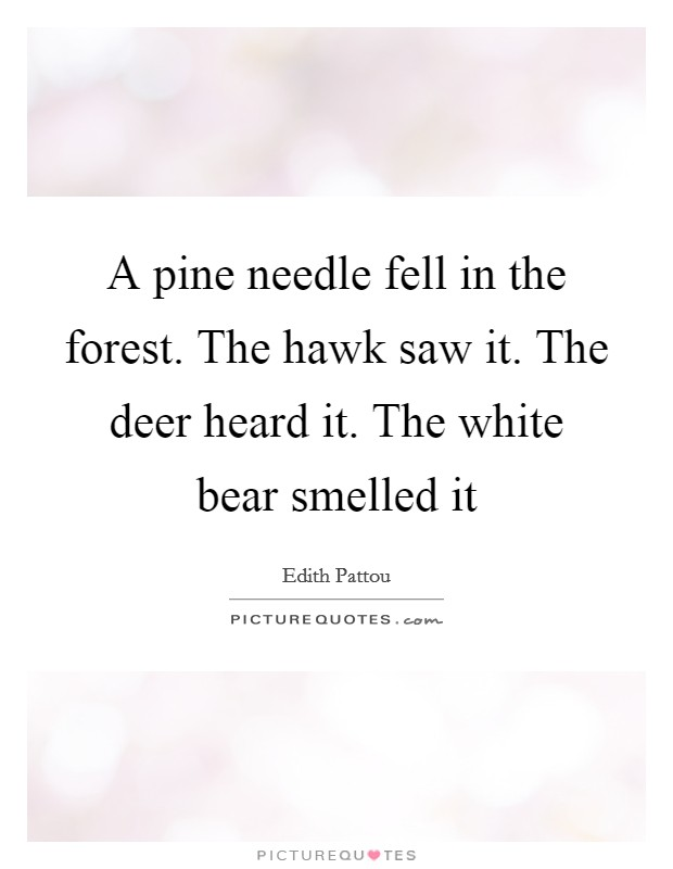 A pine needle fell in the forest. The hawk saw it. The deer heard it. The white bear smelled it Picture Quote #1