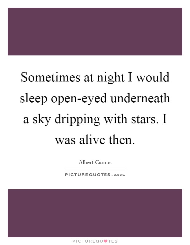 Sometimes at night I would sleep open-eyed underneath a sky dripping with stars. I was alive then Picture Quote #1