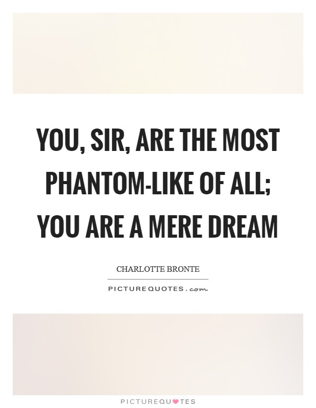 You, sir, are the most phantom-like of all; you are a mere dream Picture Quote #1