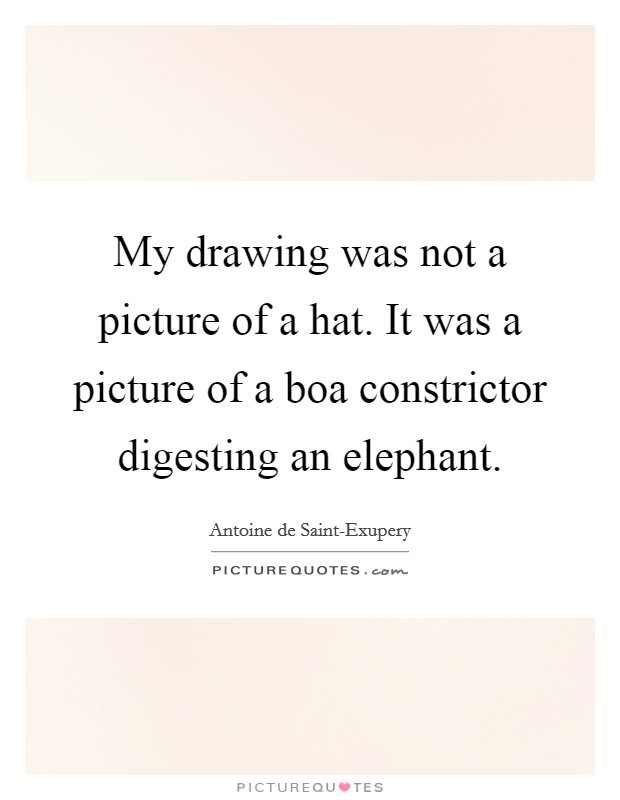 My drawing was not a picture of a hat. It was a picture of a boa constrictor digesting an elephant Picture Quote #1