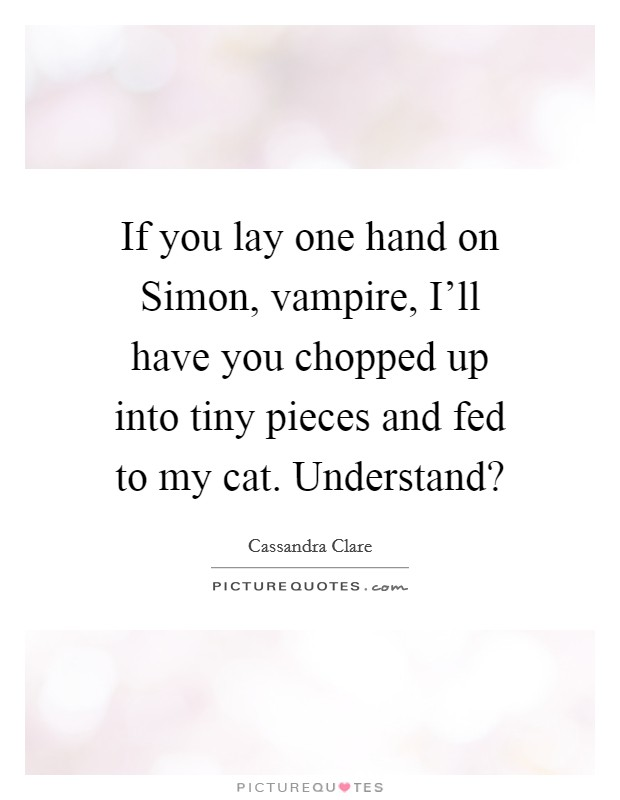 If you lay one hand on Simon, vampire, I'll have you chopped up into tiny pieces and fed to my cat. Understand? Picture Quote #1