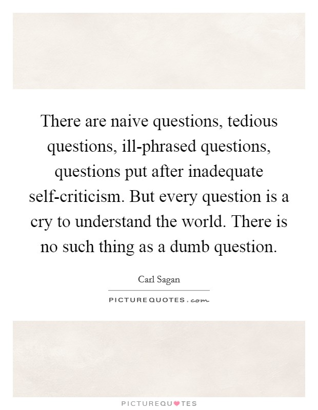 There are naive questions, tedious questions, ill-phrased questions, questions put after inadequate self-criticism. But every question is a cry to understand the world. There is no such thing as a dumb question Picture Quote #1