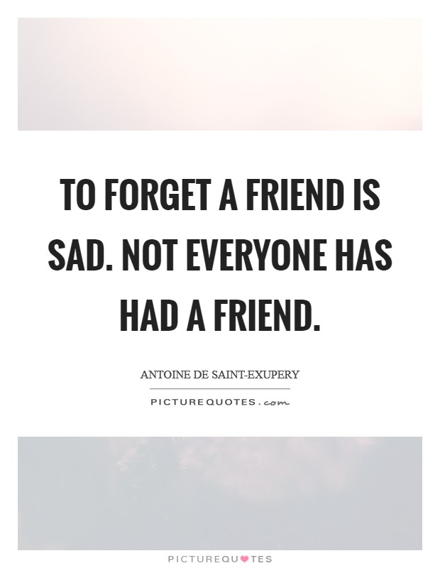 To forget a friend is sad. Not everyone has had a friend Picture Quote #1