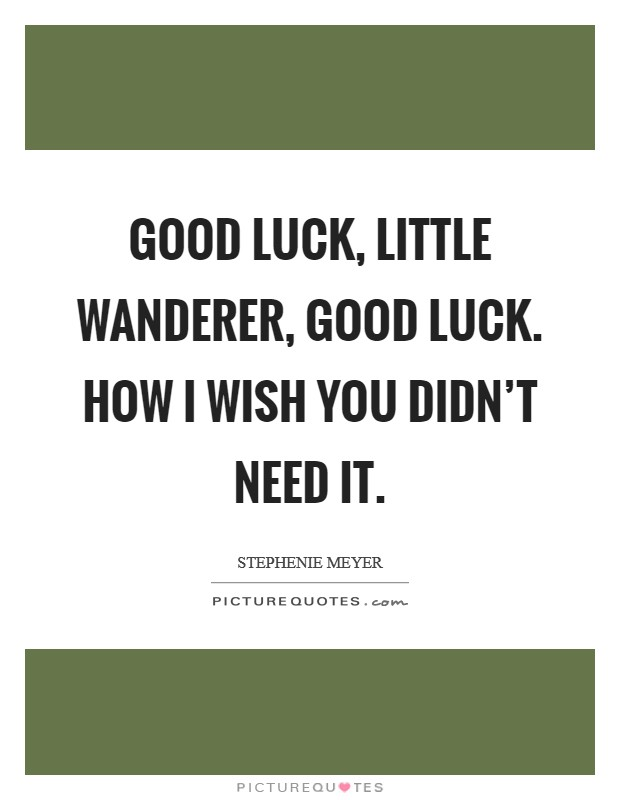 Good luck, little Wanderer, good luck. How I wish you didn't need it Picture Quote #1