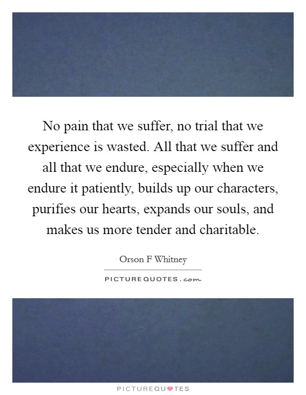 No pain that we suffer, no trial that we experience is wasted. All that we suffer and all that we endure, especially when we endure it patiently, builds up our characters, purifies our hearts, expands our souls, and makes us more tender and charitable Picture Quote #1