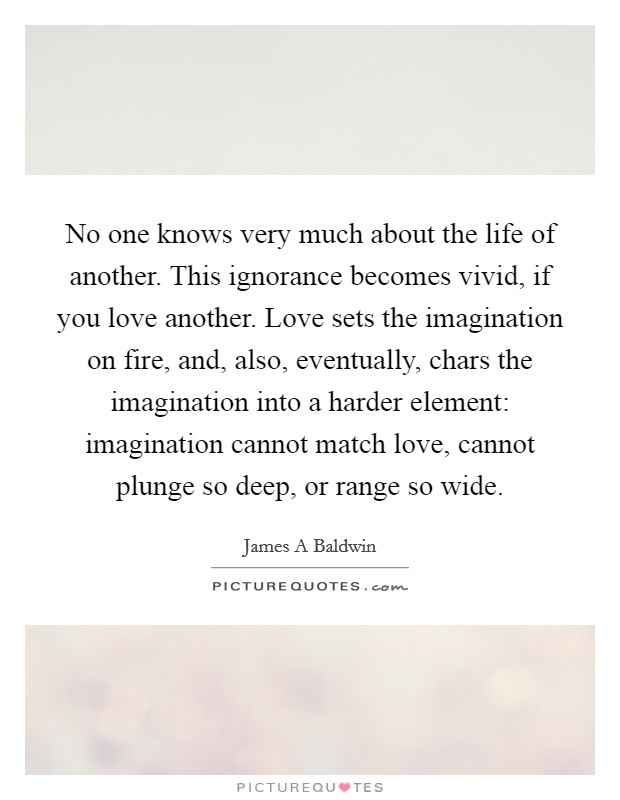 No one knows very much about the life of another. This ignorance becomes vivid, if you love another. Love sets the imagination on fire, and, also, eventually, chars the imagination into a harder element: imagination cannot match love, cannot plunge so deep, or range so wide Picture Quote #1