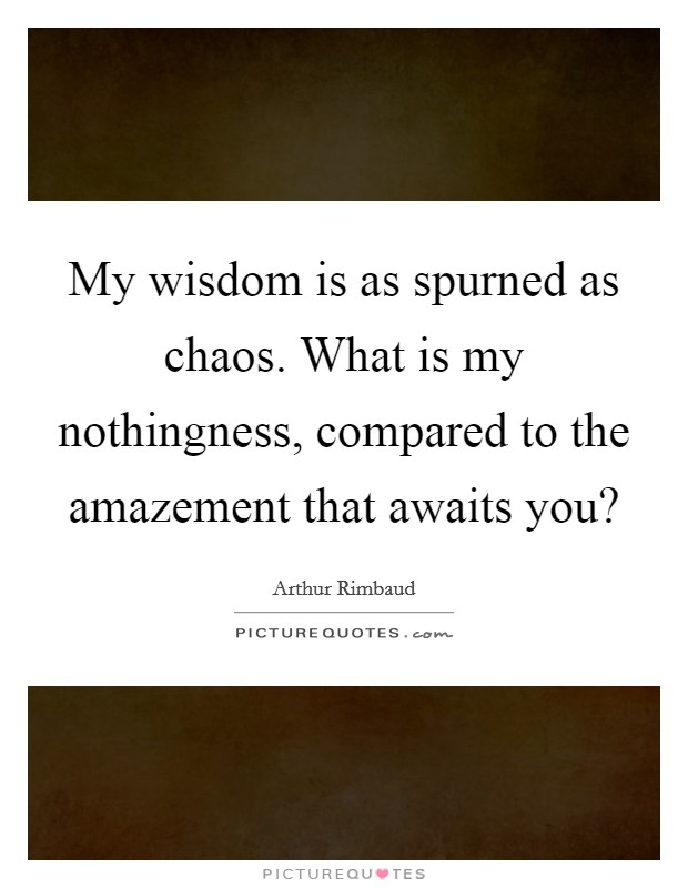 My wisdom is as spurned as chaos. What is my nothingness, compared to the amazement that awaits you? Picture Quote #1