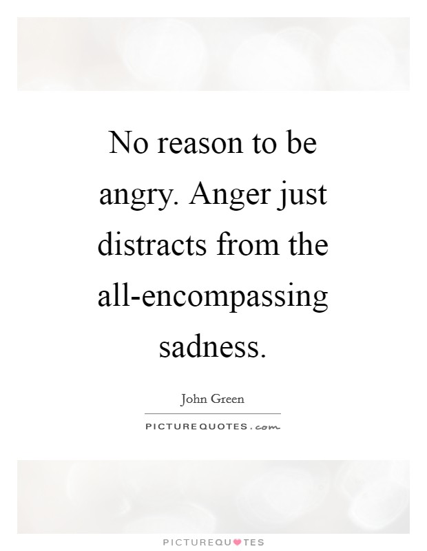 No reason to be angry. Anger just distracts from the all-encompassing sadness Picture Quote #1