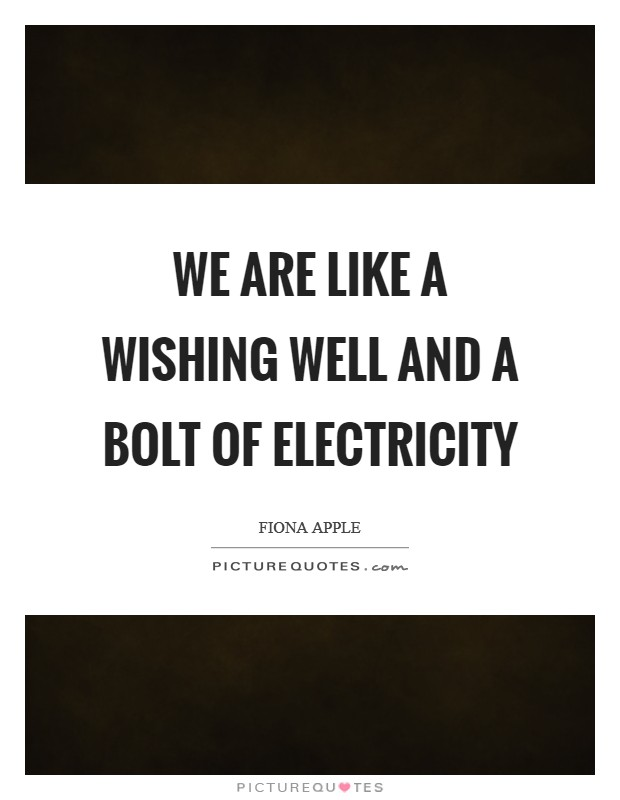 We are like a wishing well And a bolt of electricity Picture Quote #1