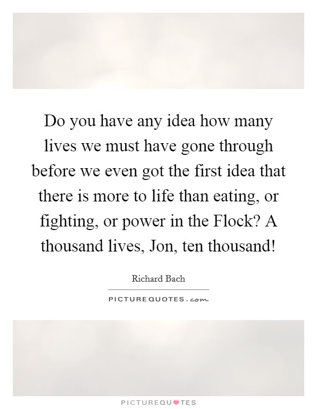 Do you have any idea how many lives we must have gone through before we even got the first idea that there is more to life than eating, or fighting, or power in the Flock? A thousand lives, Jon, ten thousand! Picture Quote #1