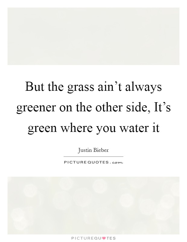 But the grass ain't always greener on the other side, It's green where you water it Picture Quote #1