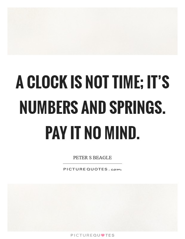 A Clock is not time; it's numbers and springs. Pay it no mind Picture Quote #1