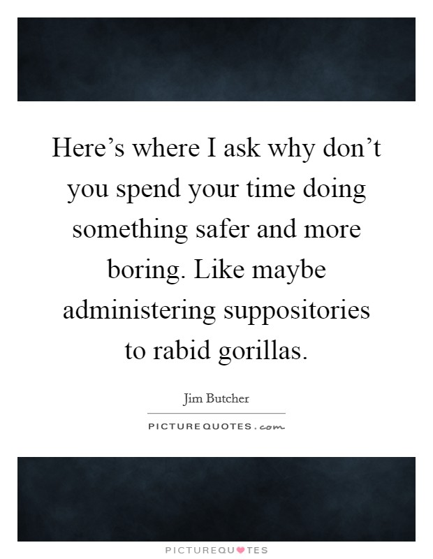 Here's where I ask why don't you spend your time doing something safer and more boring. Like maybe administering suppositories to rabid gorillas Picture Quote #1
