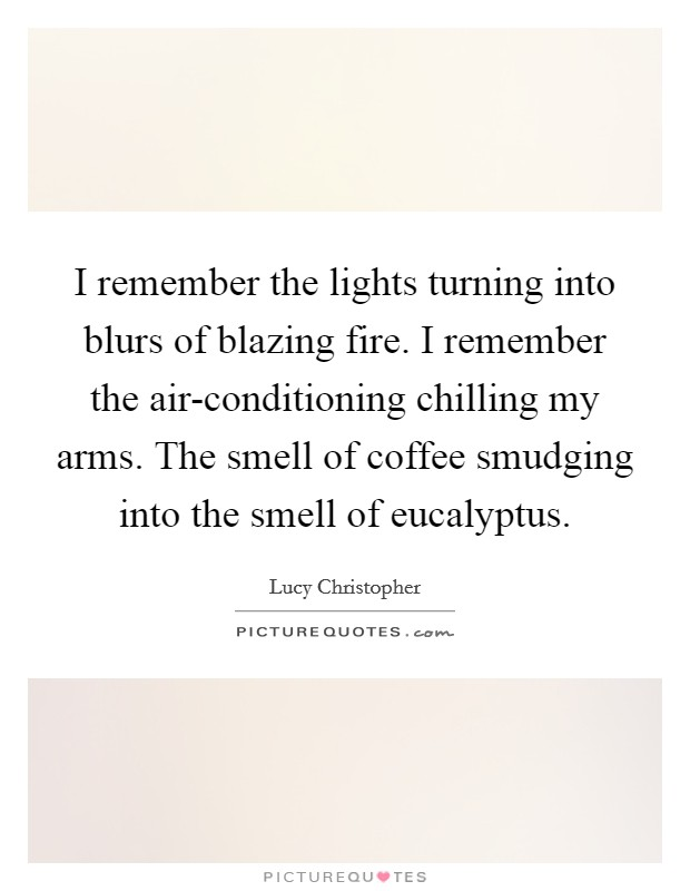 I remember the lights turning into blurs of blazing fire. I remember the air-conditioning chilling my arms. The smell of coffee smudging into the smell of eucalyptus Picture Quote #1