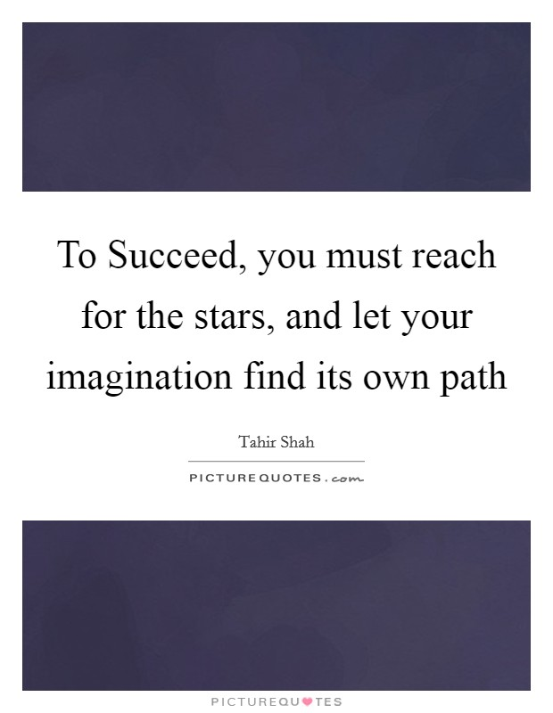 To Succeed, you must reach for the stars, and let your imagination find its own path Picture Quote #1