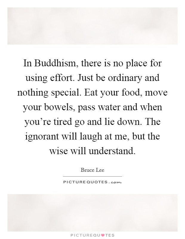 In Buddhism, there is no place for using effort. Just be ordinary and nothing special. Eat your food, move your bowels, pass water and when you're tired go and lie down. The ignorant will laugh at me, but the wise will understand Picture Quote #1