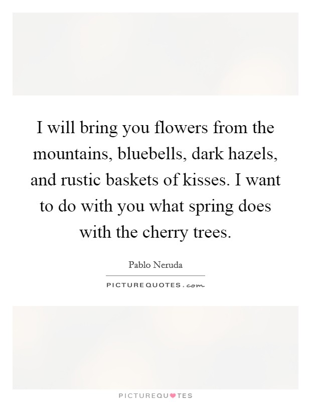 I will bring you flowers from the mountains, bluebells, dark hazels, and rustic baskets of kisses. I want to do with you what spring does with the cherry trees Picture Quote #1