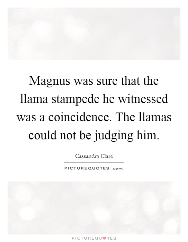 Magnus was sure that the llama stampede he witnessed was a coincidence. The llamas could not be judging him Picture Quote #1
