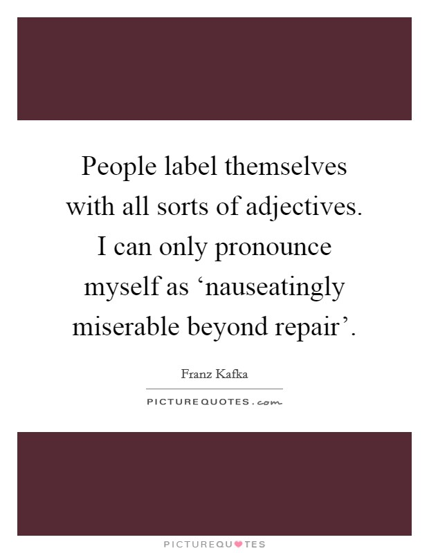 People label themselves with all sorts of adjectives. I can only pronounce myself as 'nauseatingly miserable beyond repair' Picture Quote #1