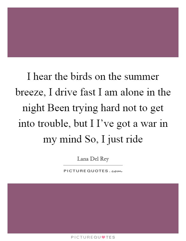 I hear the birds on the summer breeze, I drive fast I am alone in the night Been trying hard not to get into trouble, but I I've got a war in my mind So, I just ride Picture Quote #1