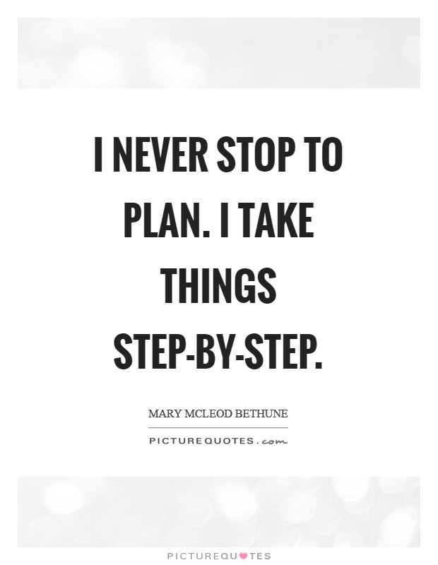 I never stop to plan. I take things step-by-step Picture Quote #1