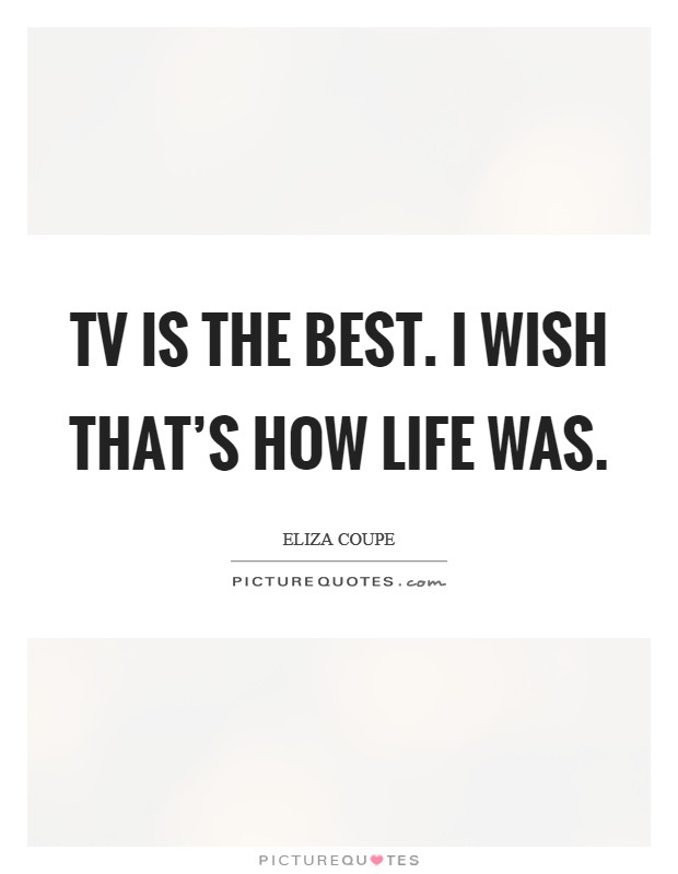 TV is the best. I wish that's how life was Picture Quote #1