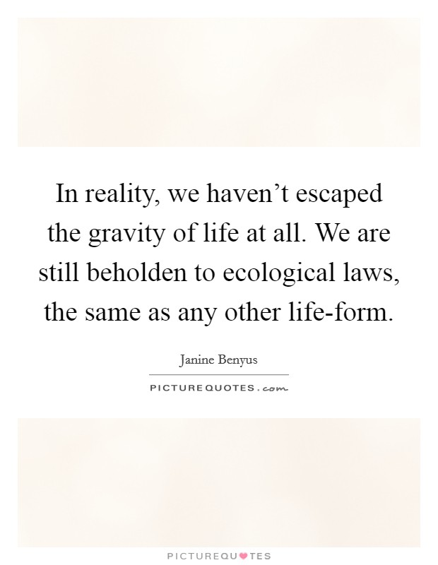 In reality, we haven't escaped the gravity of life at all. We are still beholden to ecological laws, the same as any other life-form Picture Quote #1