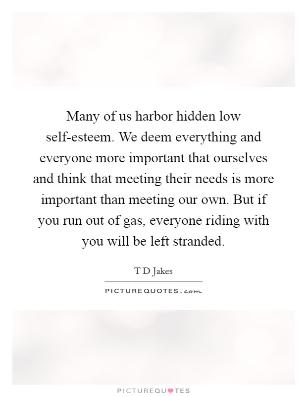 Many of us harbor hidden low self-esteem. We deem everything and everyone more important that ourselves and think that meeting their needs is more important than meeting our own. But if you run out of gas, everyone riding with you will be left stranded Picture Quote #1