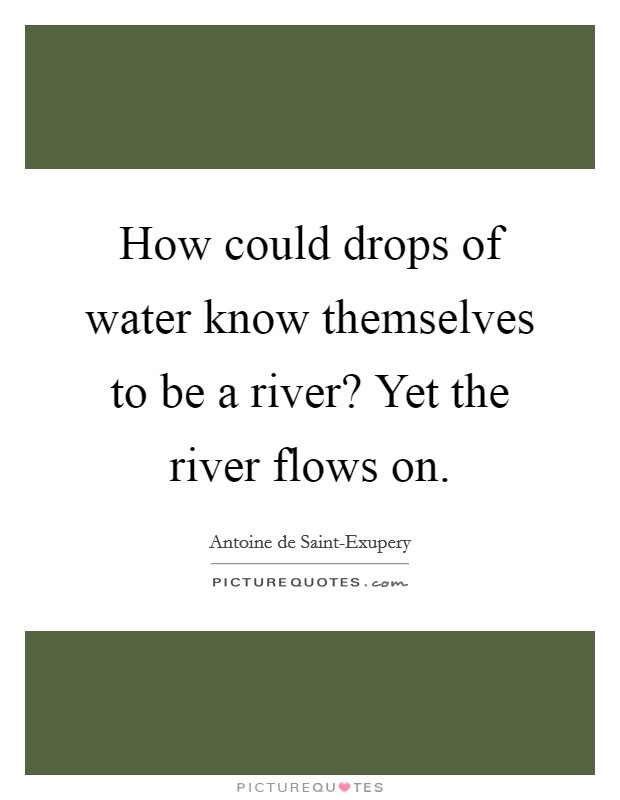 How could drops of water know themselves to be a river? Yet the river flows on Picture Quote #1