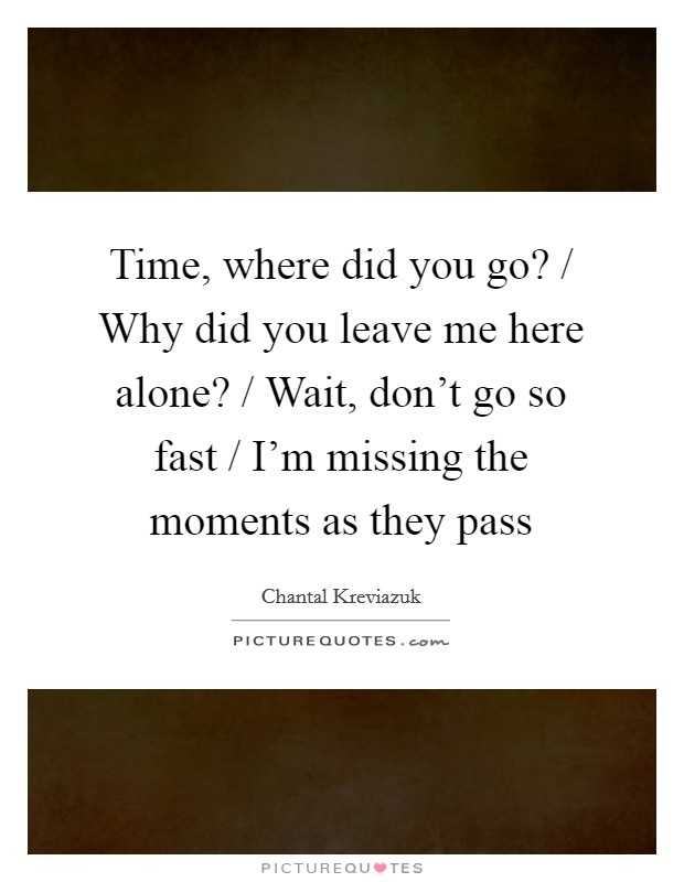 Time, where did you go? / Why did you leave me here alone? / Wait, don't go so fast / I'm missing the moments as they pass Picture Quote #1